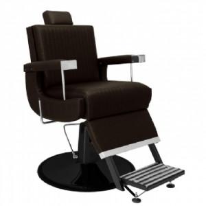 Cadeira de Barbeiro Reclinável Florida Base Preta Marri-Café