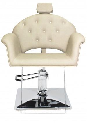 Cadeira Hidráulica Reclinável base Quadrada Velvet Kixiki-Bege / Branco