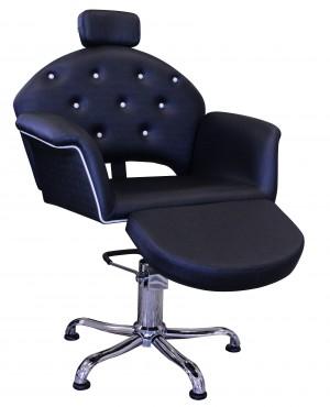 Cadeira Velvet Encosto Reclinável com Descanso de Pernas Kixiki