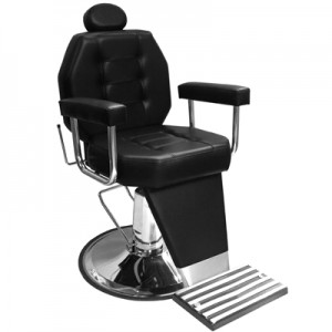 Cadeira de Barbeiro Reclinável Base Cálice Linea Marri-Preto