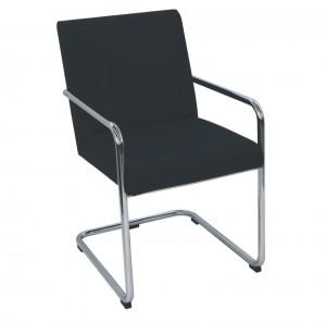 Cadeira de espera Lótus Cromada Kixiki-Preto