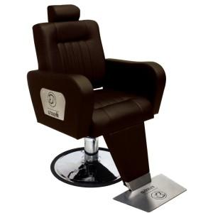 Cadeira de Barbeiro Hidráulica Encosto Reclinável Sparta Kixiki-Café