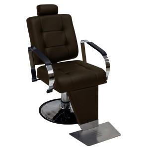 Cadeira de Barbeiro Hidráulica Encosto Reclinável Titan Kixiki-Café
