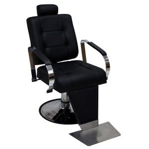 Cadeira de Barbeiro Hidráulica Encosto Reclinável Titan Kixiki-Preto