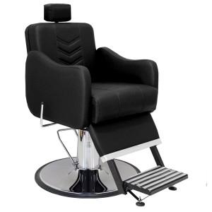 Cadeira Hidráulica Barbeiro Base Calice Cromado Reclinável Veneza Marri-Preto