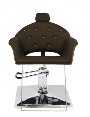 Cadeira Hidráulica Reclinável base Quadrada Velvet Kixiki-Café