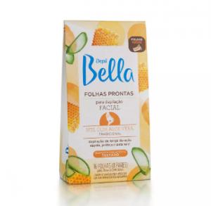 Folhas Prontas Facial Mel com Aloe Vera Depil Bella-100g