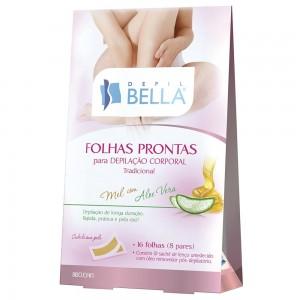 Folhas Prontas Corporal Mel com Aloe Vera Depil Bella-100g