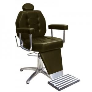 Cadeira de Barbeiro Reclinável Base Pentapé Linea Marri-Café