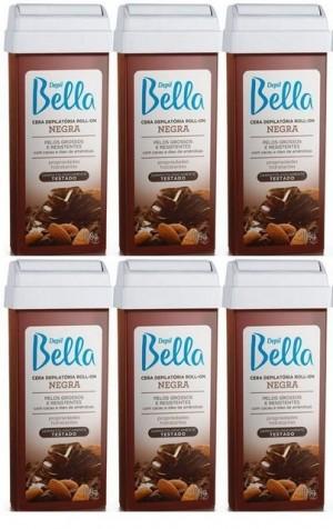 Kit com 6 cera Roll-On Negra Depil Bella