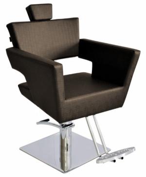 Cadeira Cabeleireiro Fixa Base Quadrada Van Gogh Terra Santa-Café