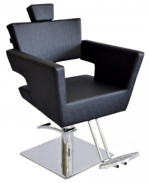 Cadeira Cabeleireiro Fixa Base Quadrada Van Gogh Terra Santa-Preto
