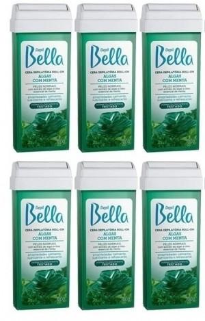 Kit com 6 cera Roll-On Algas com menta Depil Bella