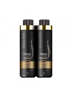 Kit Seduction 10X1 Força Shampoo1L + Condicionador Mandioca 1L