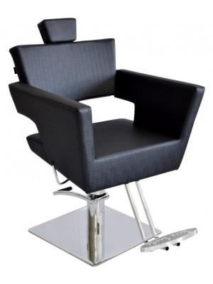 Cadeira Hidráulica Reclinável base Quadrada Inox Van Gogh Terra Santa-Preto